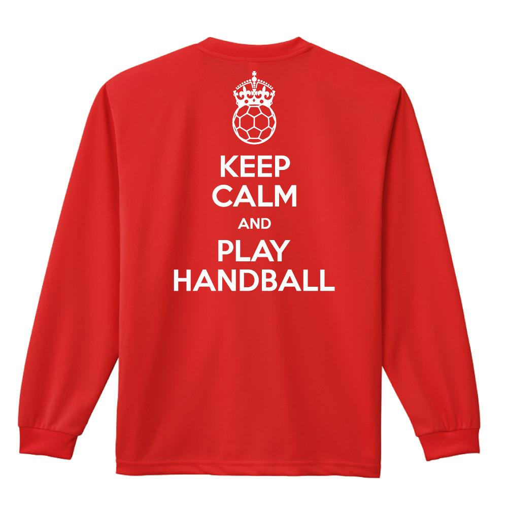 keep calm and play handball 長袖ドライtシャツ ハンドボール専門t