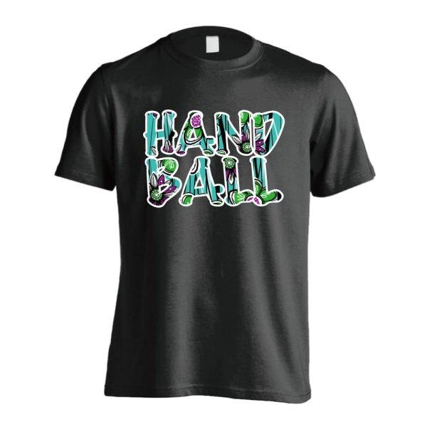 画像1: 北欧ファブリック風フラワーな HANDBALL 半袖プレミアムドライ ハンドボールTシャツ (1)