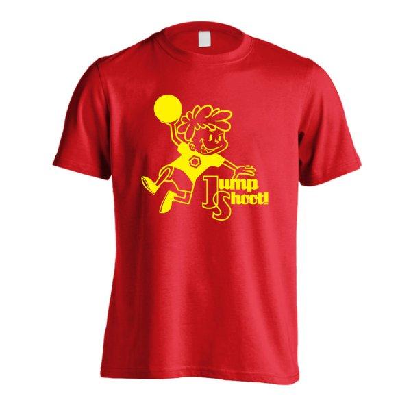 画像1: カートゥーン風 ジャンプシュート! 半袖プレミアムドライ ハンドボールTシャツ (1)
